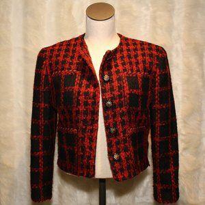 Ann Taylor Vintage Red Checkered Tweed Blazer